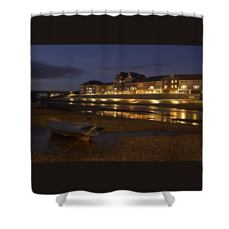 Riverside Shower Curtain featuring the photograph Riverside Reflections by Hazy Apple