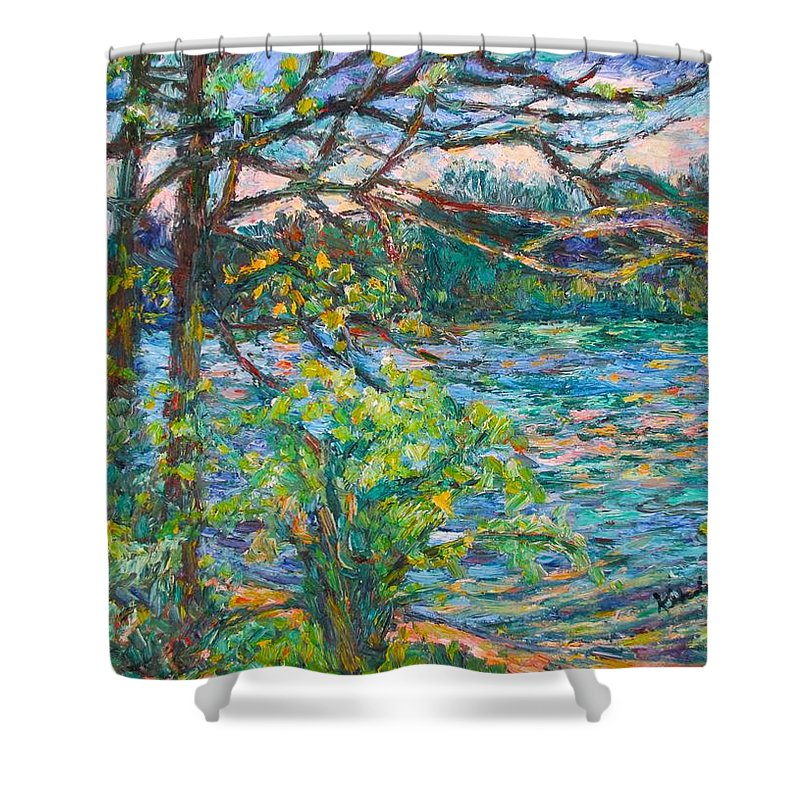 Rivers Shower Curtain featuring the painting Riverview Spring by Kendall Kessler
