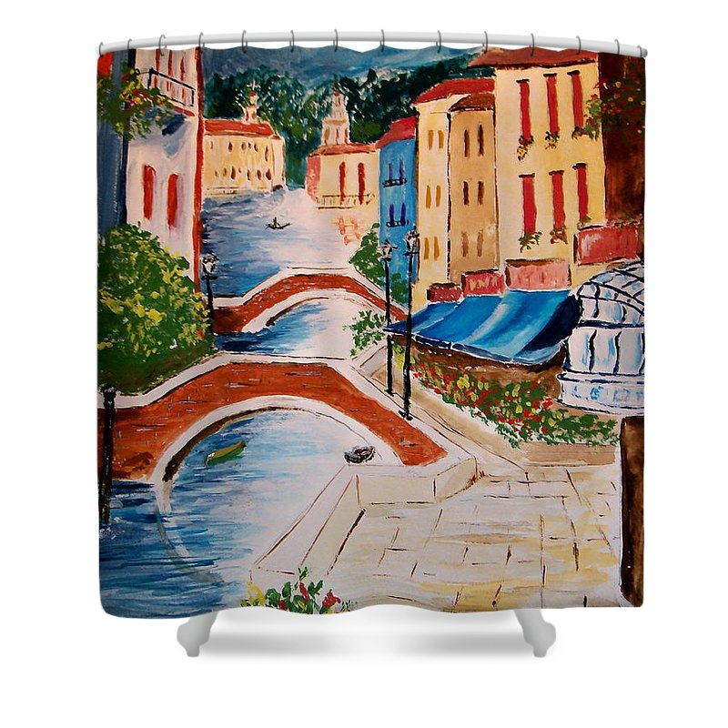 Canal Shower Curtain featuring the painting Riverwalk by Leo Gordon