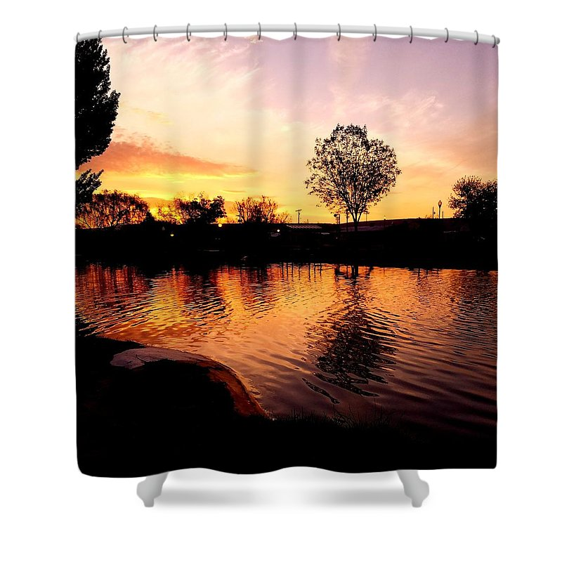 Landscape/ Sunrise Shower Curtain featuring the photograph Riverwalk Sunrise by Rudy Gallegos