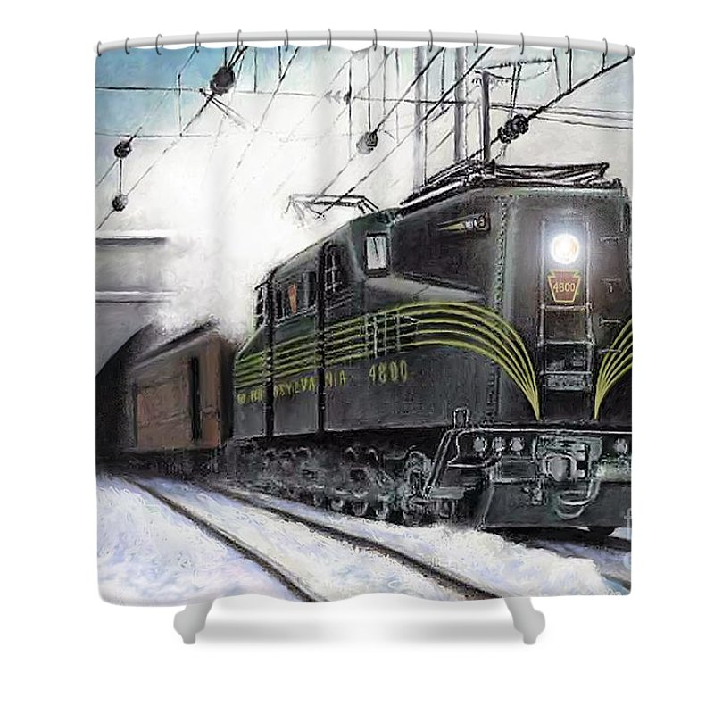 Pennsylvania Railroad Shower Curtain featuring the painting Rivets by David Mittner