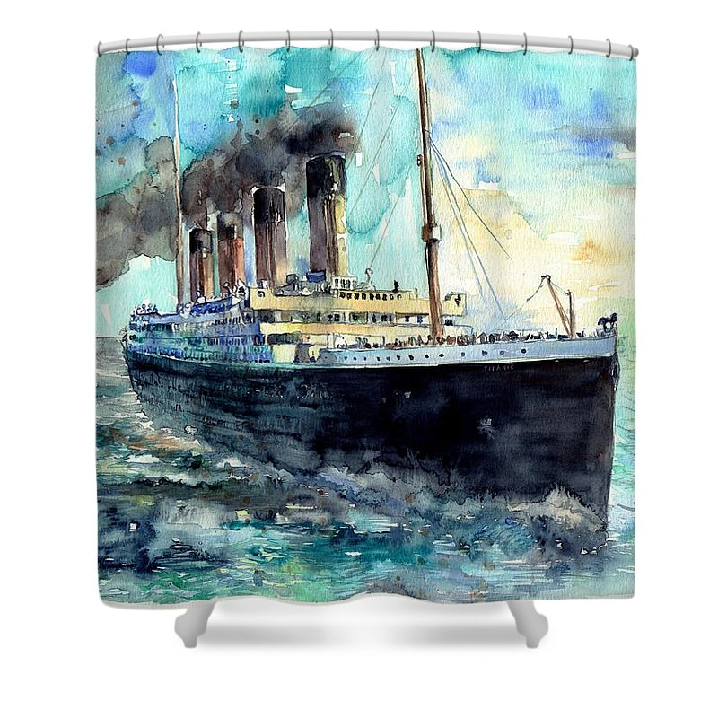 Rms Titanic Shower Curtain featuring the painting Rms Titanic White Star Line Ship by Suzann's Art