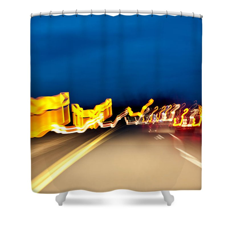 Freeway Shower Curtain featuring the photograph Road At Night 2 by Steven Dunn