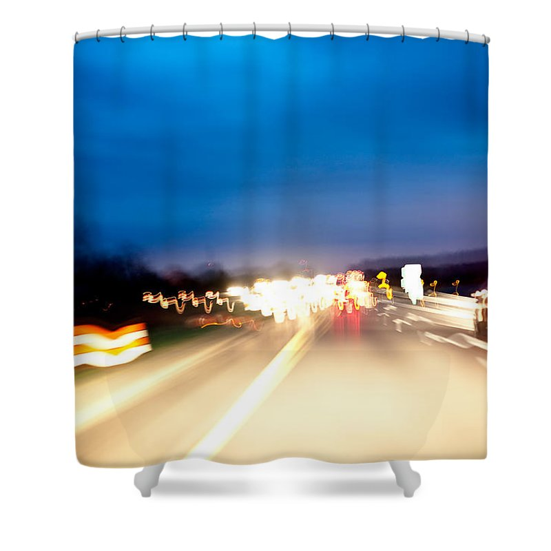 Freeway Shower Curtain featuring the photograph Road At Night 5 by Steven Dunn
