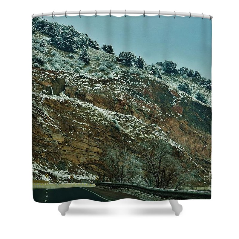 Snow Shower Curtain featuring the photograph Road Cut by CL Redding