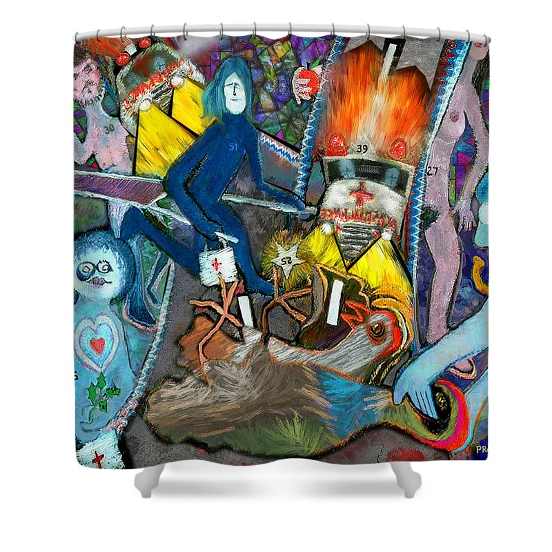 Paramedic Shower Curtain featuring the painting Road Kill Revisited by Robert Pratt