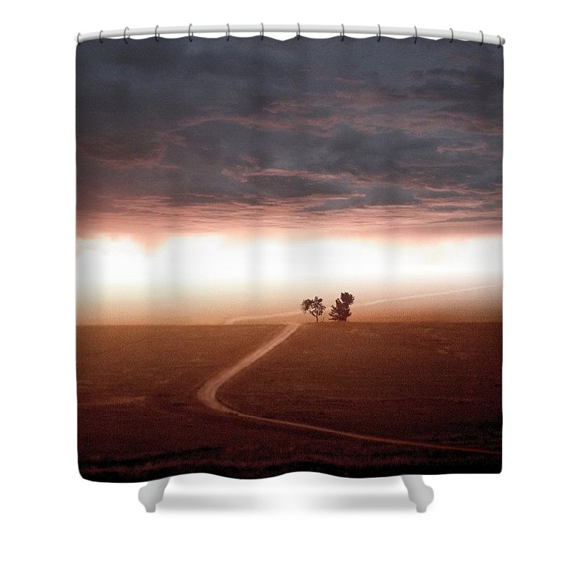 Scenic Shower Curtain featuring the mixed media Road Less Traveled by Bill Stephens