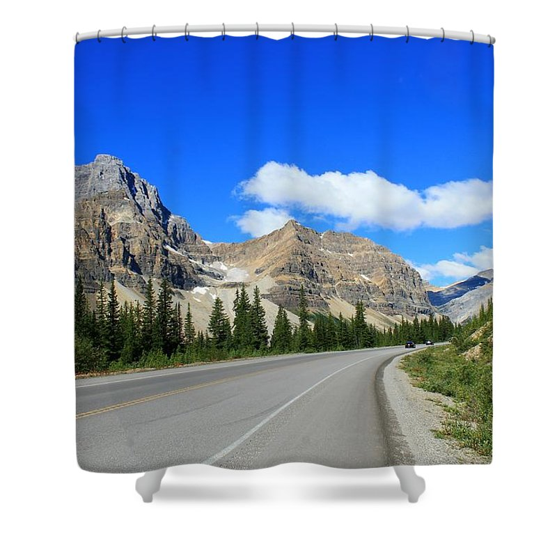 Adventure Shower Curtain featuring the photograph Road To Jasper by Margre Flikweert
