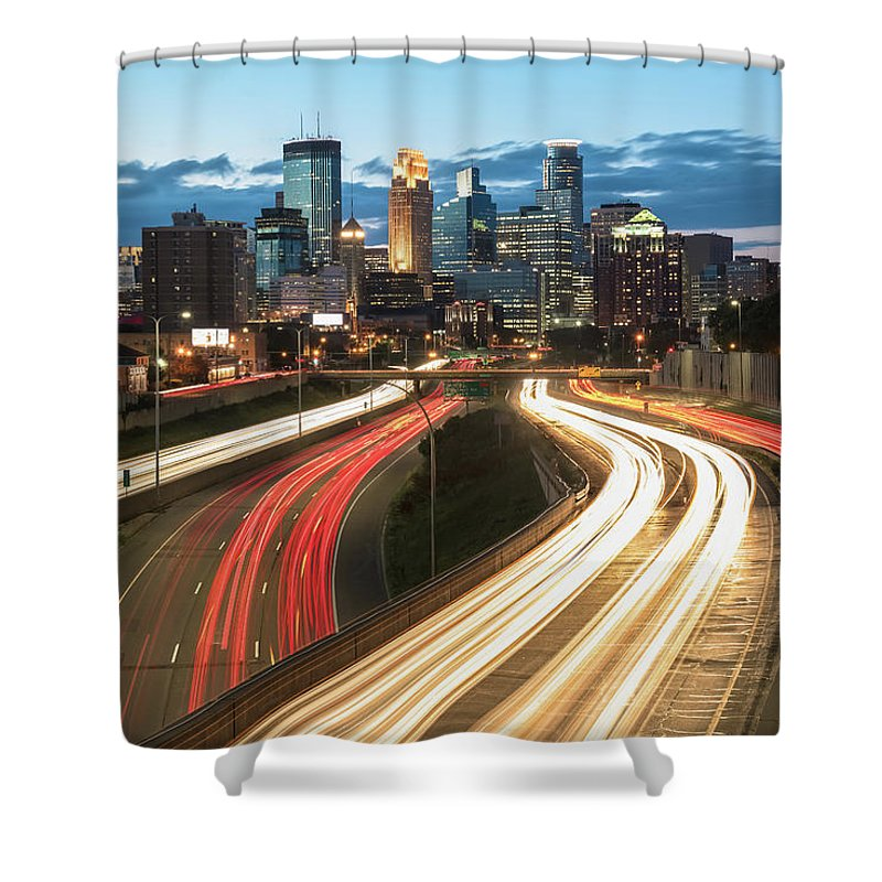 Minneapolis Shower Curtain featuring the photograph Road To Minneapolis by Ryan Heffron