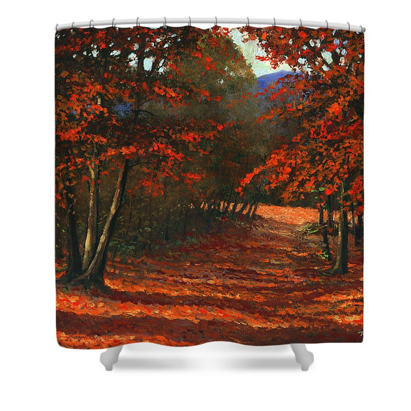 Landscape Shower Curtain featuring the painting Road To The Clearing by Frank Wilson