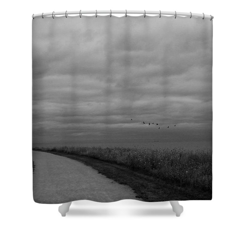 Road Shower Curtain featuring the photograph Road To The Left Black And White by Marko Mitic