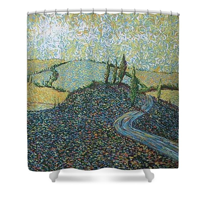 Landscape Shower Curtain featuring the painting Road To Tuscany by Stefan Duncan