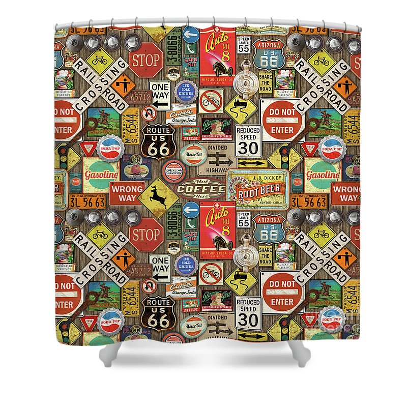 Route 66 Shower Curtain featuring the painting Roads Signs On Wood-jp3958-b by Jean Plout