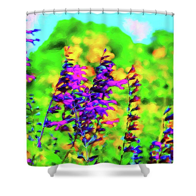 Flowers Shower Curtain featuring the digital art Roadside Wildflowers by Nancy Faircloth
