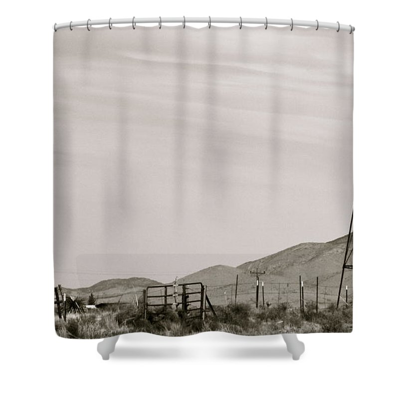Sepia Shower Curtain featuring the photograph Roadtrip 6 by Meagan Paxton