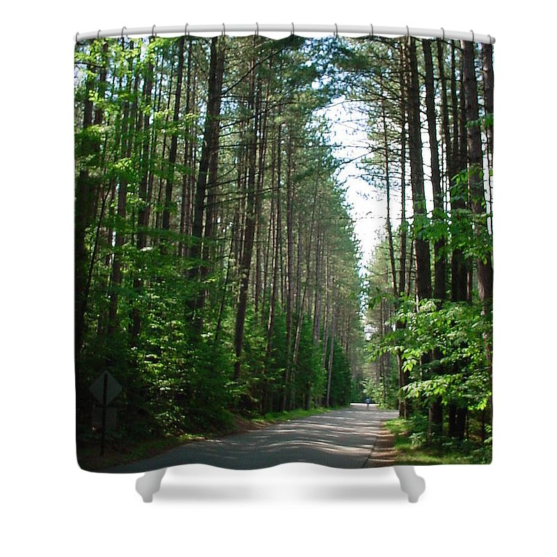 Fish Creek Shower Curtain featuring the photograph Roadway At Fish Creek by Jerrold Carton