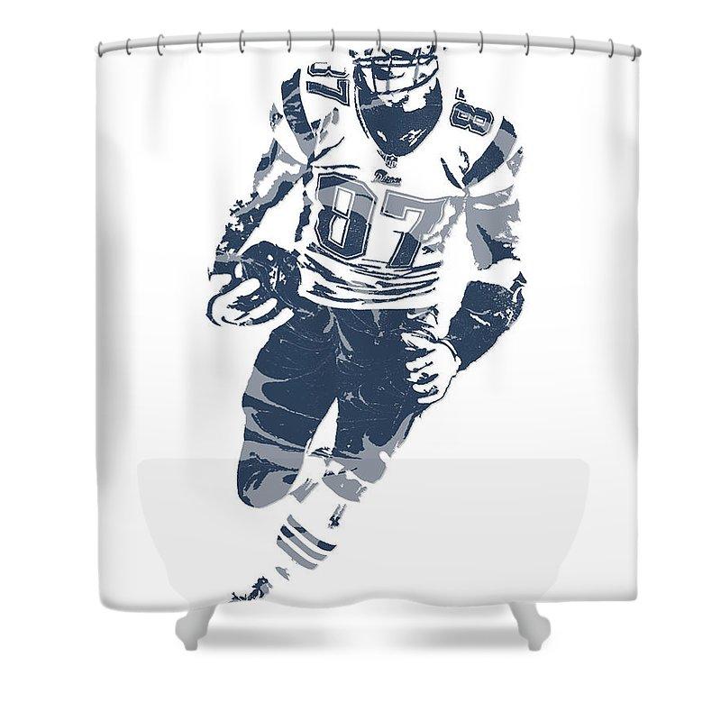 Rob Gronkowski Shower Curtain Featuring The Mixed Media New England Patriots Pixel Art 11