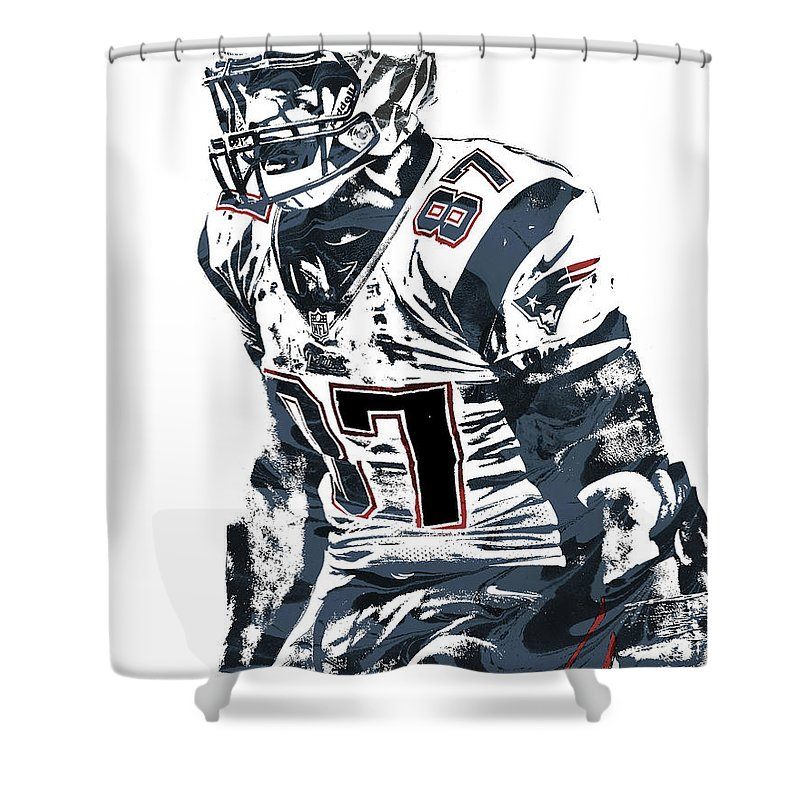 Rob Gronkowski Shower Curtain Featuring The Mixed Media New England Patriots Pixel Art 4