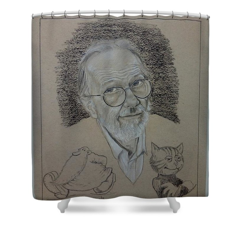 Robert Crumb Shower Curtain featuring the drawing Robert Crumb by Nebojsa Remeljej