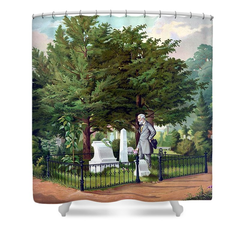 Robert E Lee Shower Curtain featuring the painting Robert E. Lee Visits Stonewall Jackson's Grave by War Is Hell Store