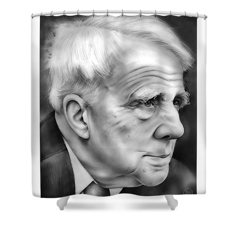 Robert Frost Shower Curtain Featuring The Drawing By Greg Joens
