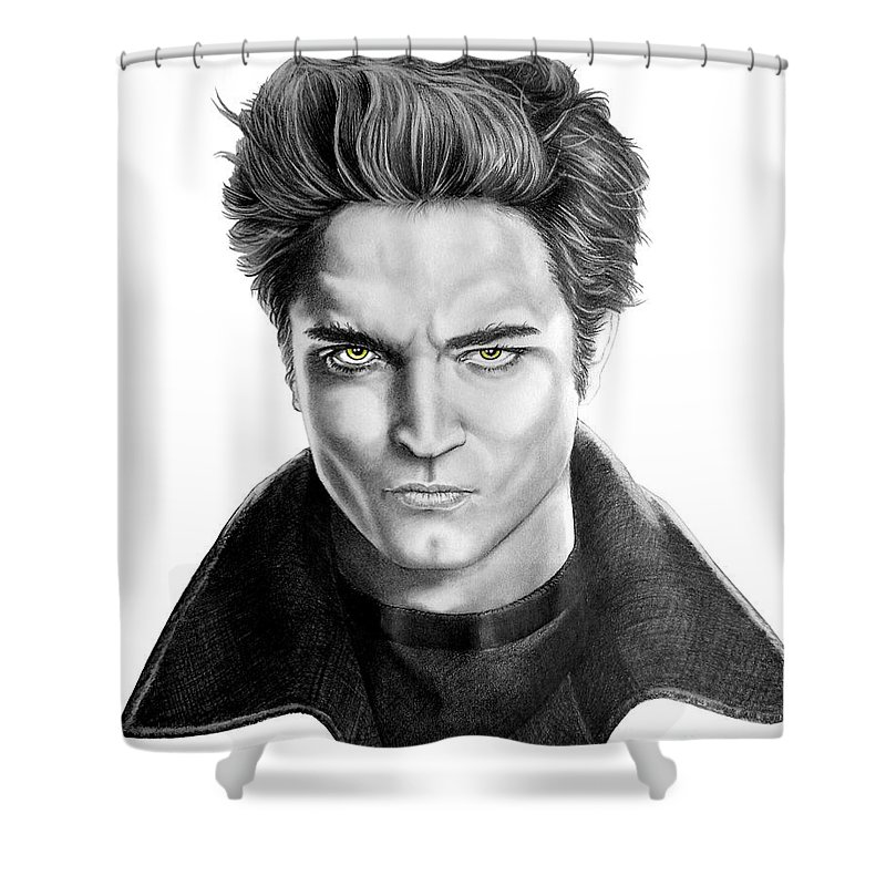 Drawing Shower Curtain featuring the drawing Robert Pattinson - Twilight's Edward by Murphy Elliott