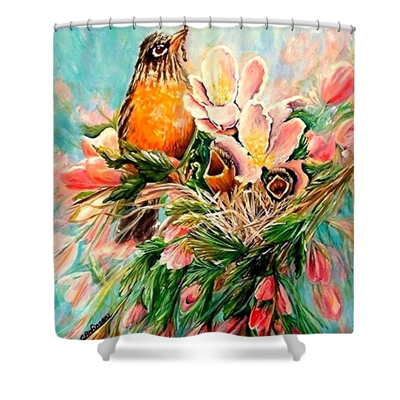 Robins Shower Curtain featuring the painting Robin Hood by Carol Allen Anfinsen