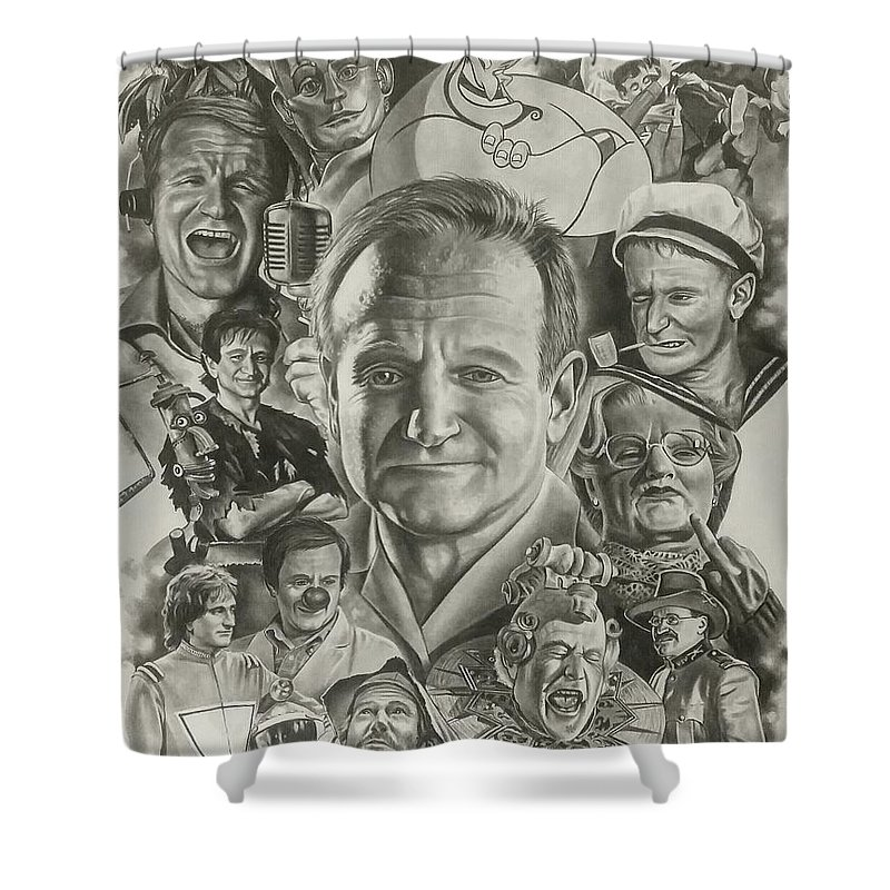 Robin Williams Shower Curtain featuring the drawing Robin Williams by James Rodgers