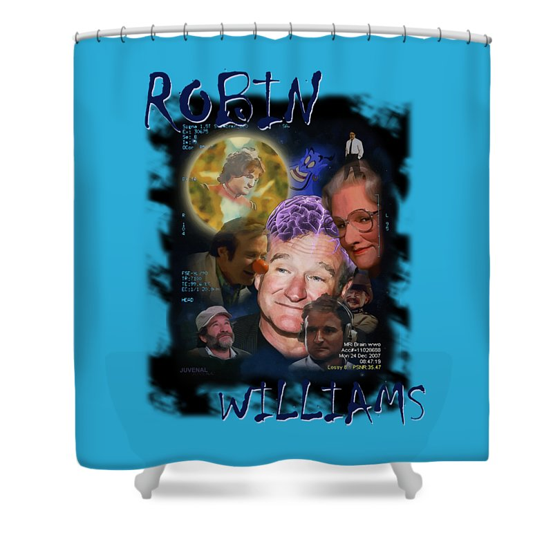 Canvas Prints Shower Curtain featuring the digital art Robin Williams by Joseph Juvenal