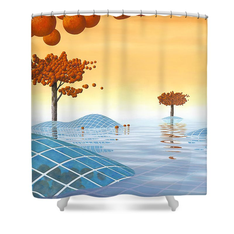 Architecture Shower Curtain featuring the painting Robinia Natatalis by Patricia Van Lubeck