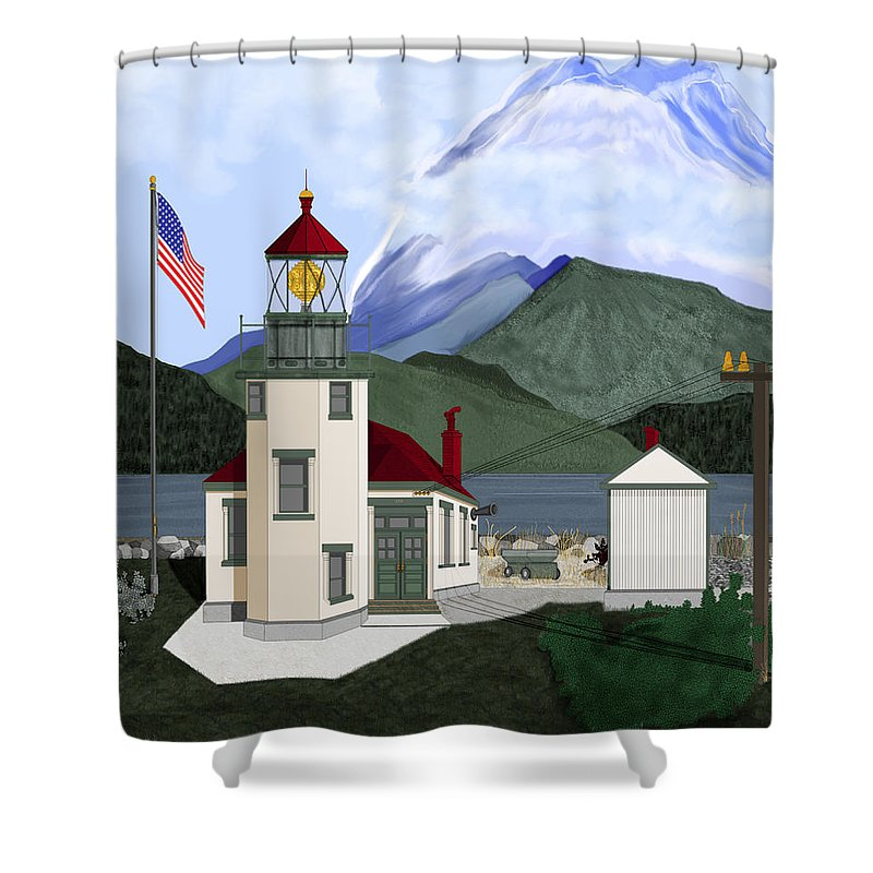 Point Robinson Lighthouse Shower Curtain featuring the painting Robinson Point With Mount Rainier by Anne Norskog