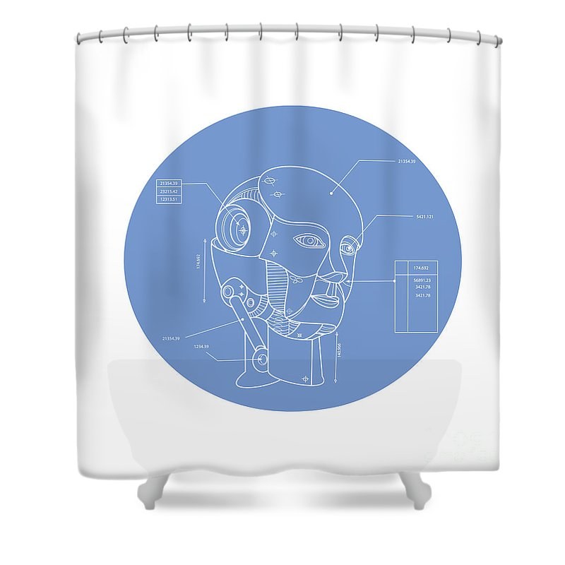 Robot Shower Curtain Featuring The Digital Art Head Technical Drawing By Aloysius Patrimonio