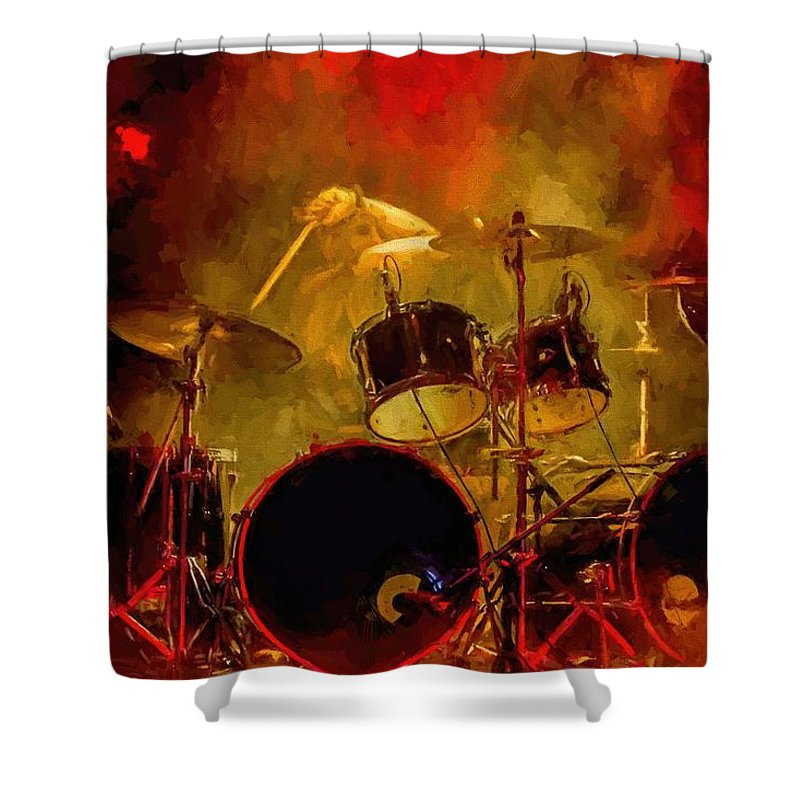 Rock And Roll Drum Solo # Rock And Roll # Drum Set # Rock And Roll Drum Paintings # Abstract Music Art # Zildjian # Drum Solo Painting # Concert # Smoke # Fog # Shower Curtain featuring the digital art Rock And Roll Drum Solo by Louis Ferreira