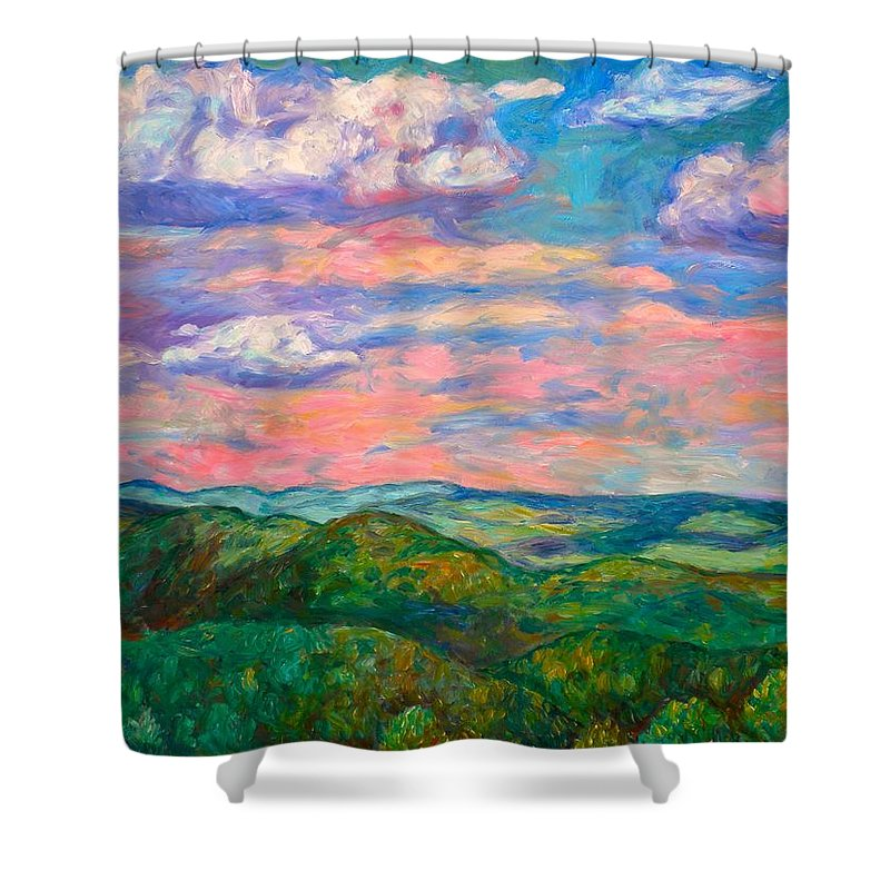 Landscape Paintings Shower Curtain featuring the painting Rock Castle Gorge by Kendall Kessler