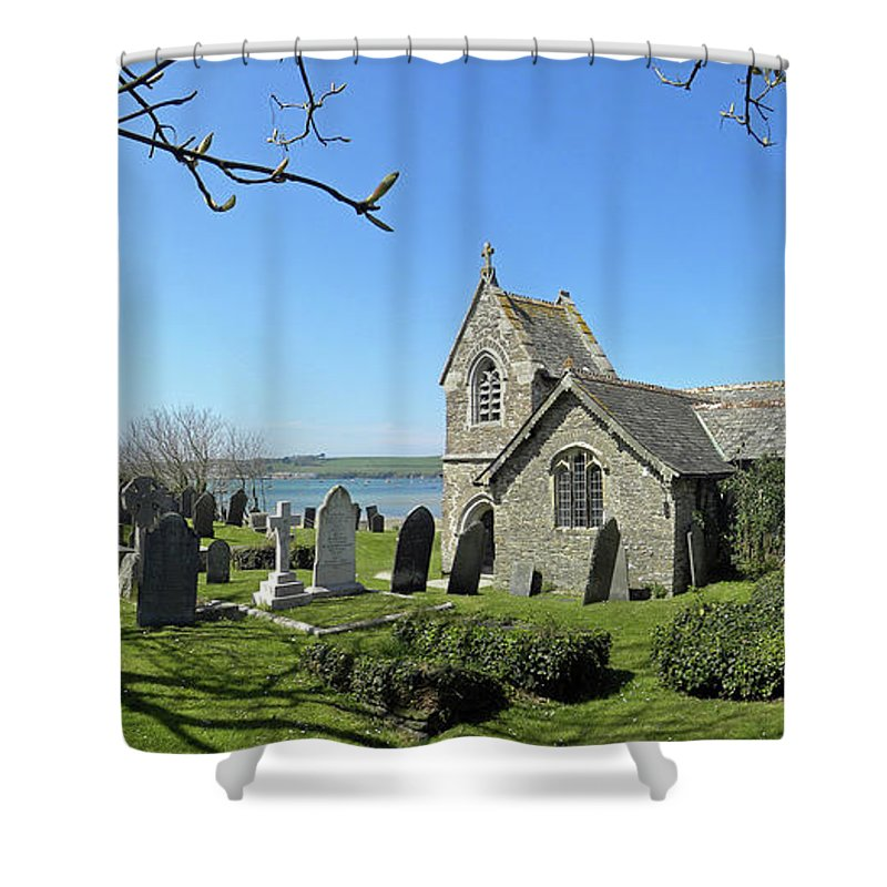 Church Shower Curtain featuring the photograph Rock Church Cornwall by Neil Finnemore