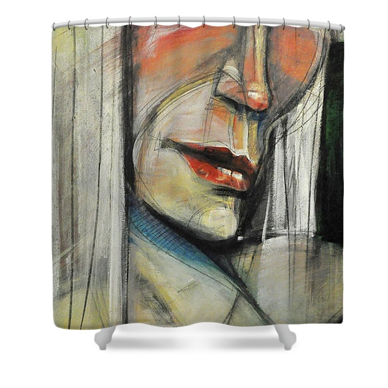 Woman Shower Curtain featuring the painting Rock Diva Or Pris by Tim Nyberg