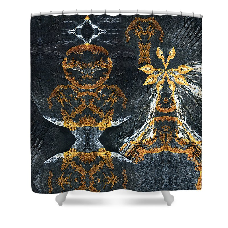 Rocks Shower Curtain featuring the digital art Rock Gods Lichen Lady And Lords by Nancy Griswold