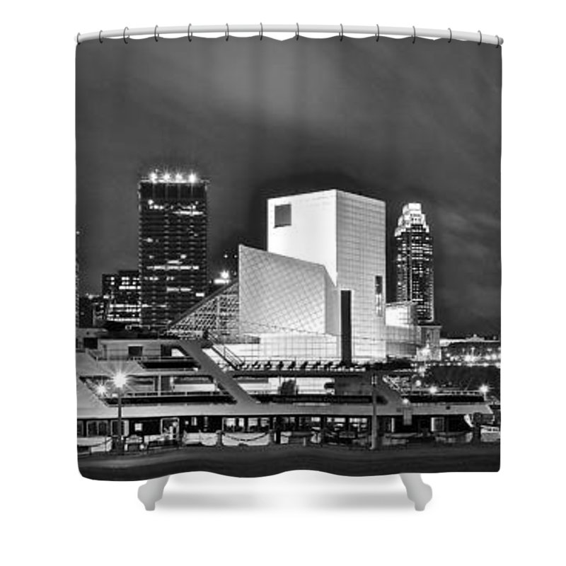Cleveland Shower Curtain featuring the photograph Rock Hall Front And Center by Skyline Photos of America