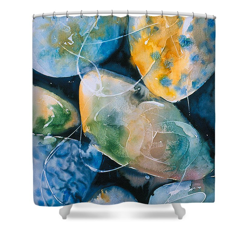 Water Shower Curtain featuring the painting Rock In Water by Allison Ashton
