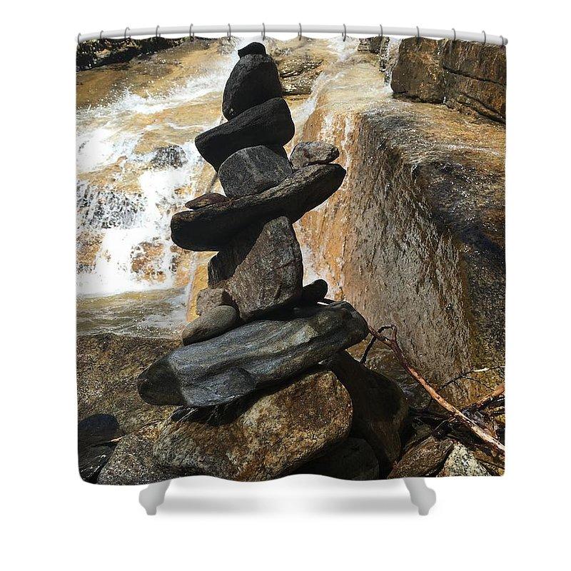 Kelly Hazel Shower Curtain featuring the photograph Rock Monument At Jones Gap Falls II by Kelly Hazel