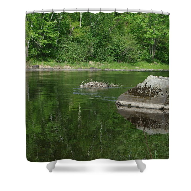 Summer Shower Curtain featuring the photograph Rock Reflection In The River by Alice Markham