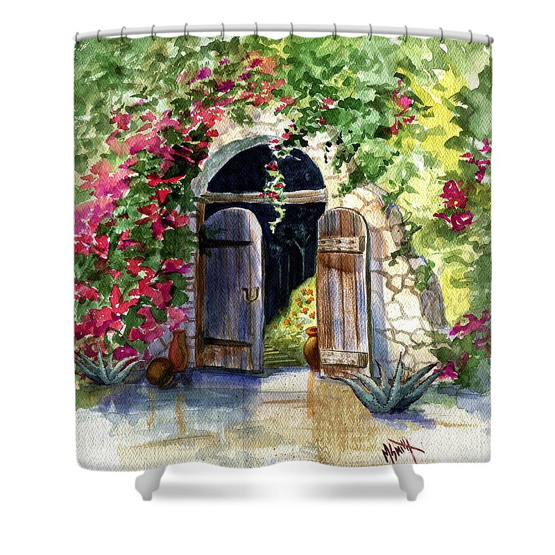 Garden Gate Shower Curtain featuring the painting Rock Springs Gate by Marilyn Smith