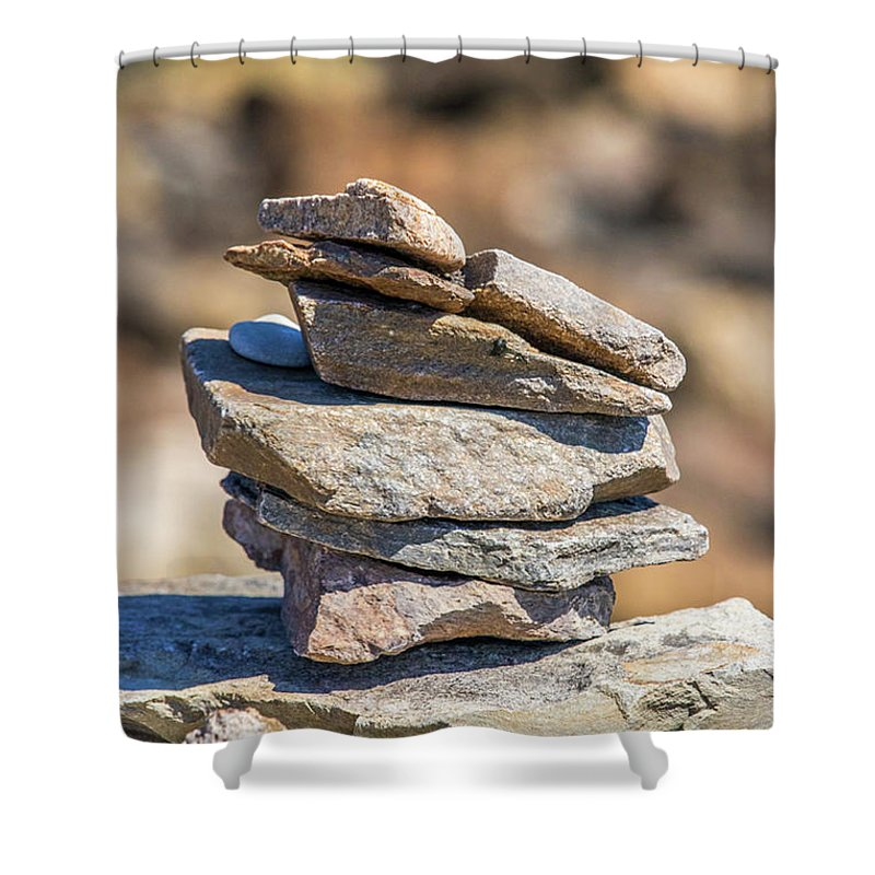 Rock Shower Curtain featuring the photograph Rock Stack by Carl Therriault
