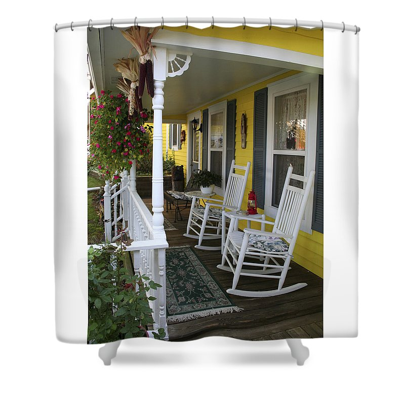 Rocking Chair Shower Curtain featuring the photograph Rockers On The Porch by Margie Wildblood