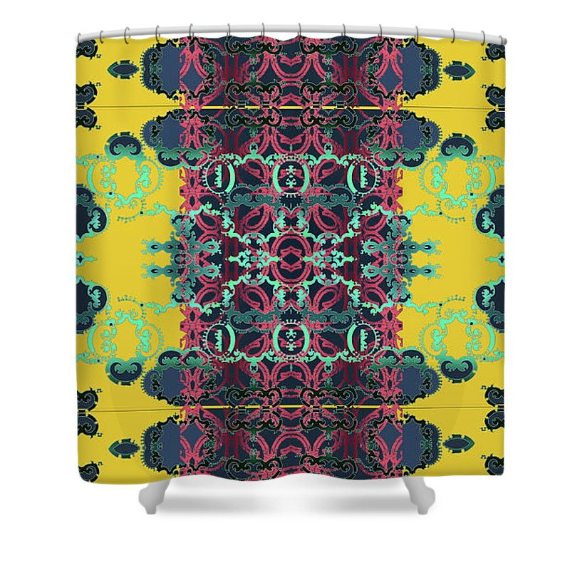 Yellow Shower Curtain featuring the digital art Rocket 1 by Ceil Diskin