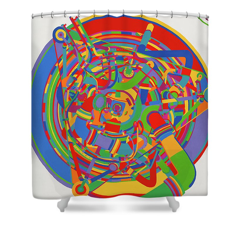 Rocket Shower Curtain featuring the painting Rocket by Janet Hansen