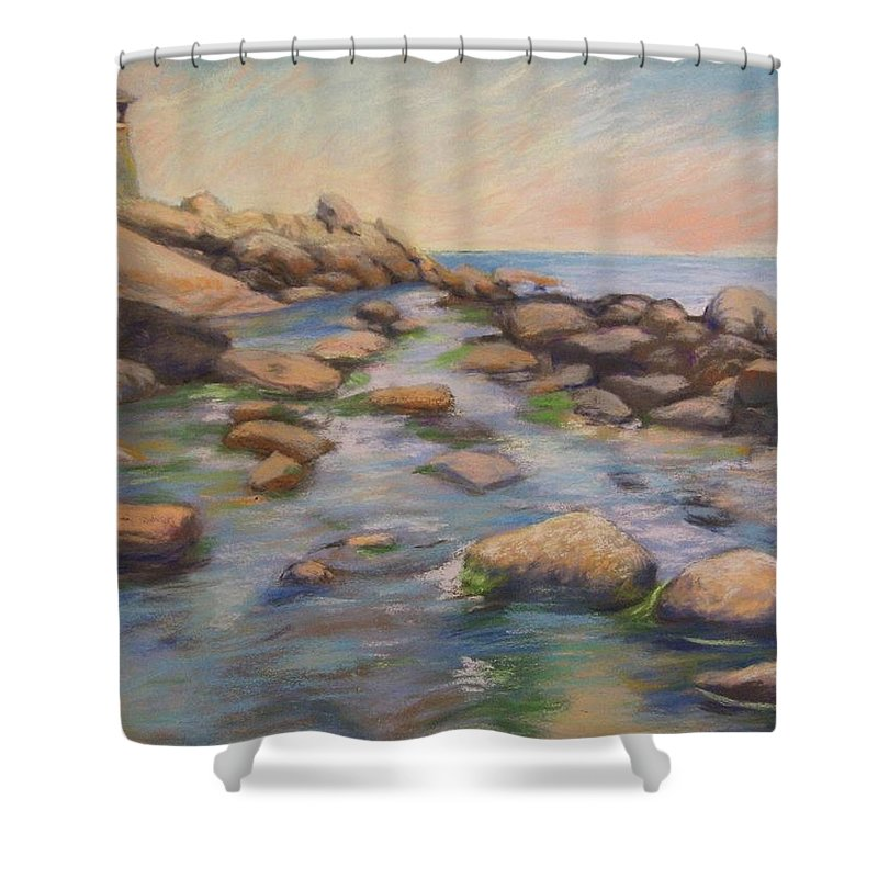 Mcgrath Shower Curtain featuring the painting Rockport Harbour by Leslie Alfred McGrath