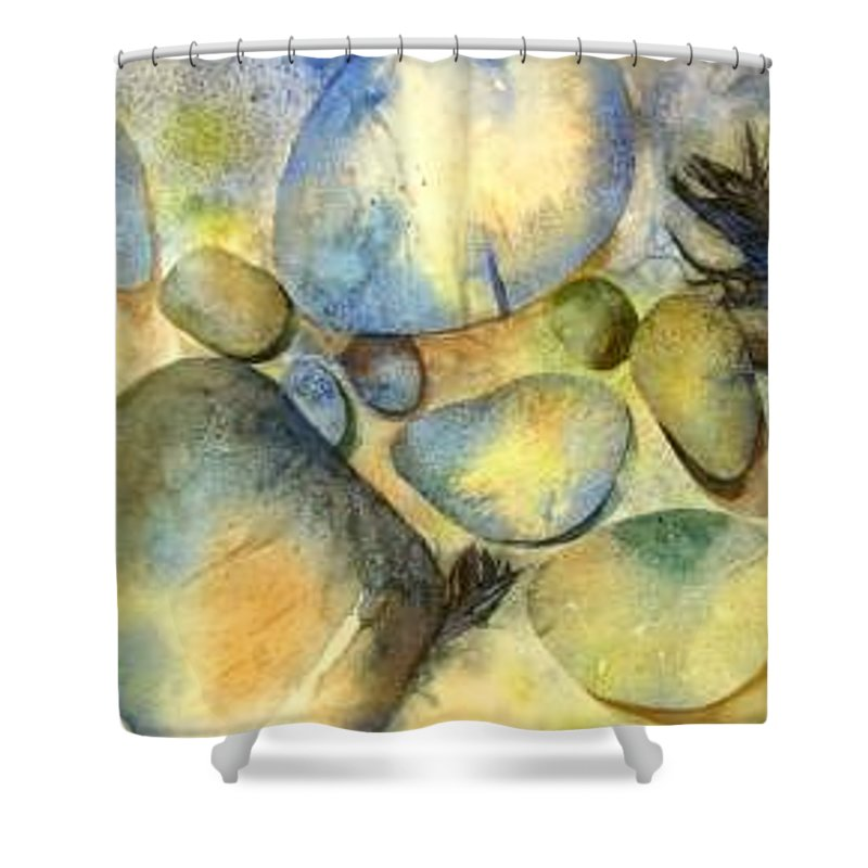 Rocks And Feathers Shower Curtain featuring the painting Rocks And Feather by Marlene Gremillion