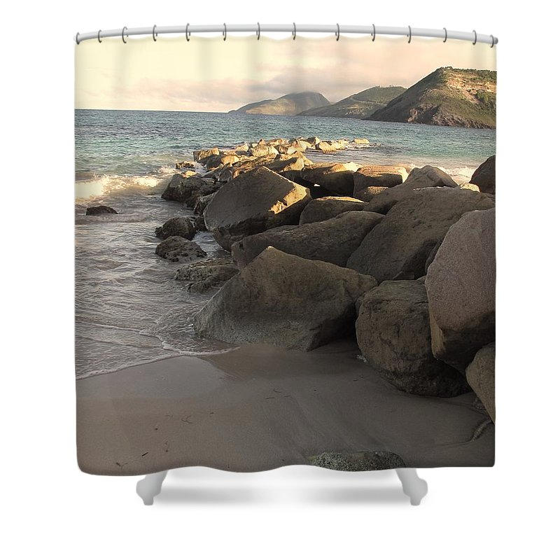 Boulders Shower Curtain featuring the photograph Rocks And Hills by Ian MacDonald