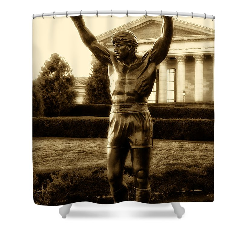 Sports Shower Curtain featuring the photograph Rocky - Heart Of A Champion by Bill Cannon